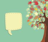 Diversity Tree hands template — Stock Vector