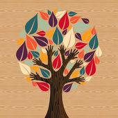Abstract Diversity Tree hands — Stock Vector