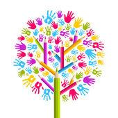 Diversity education Tree hands — Stock Vector