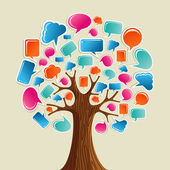 Social media network communication tree — Stock Vector