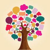 Mediów społecznych sieci komunikacji drzewo — Wektor stockowy