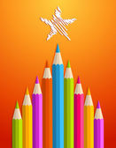 Art pencils Christmas tree — Stock Vector
