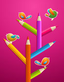 Art pencils and birds Christmas tree — Stock Vector