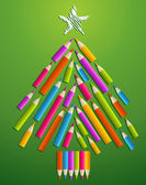 Art and design education Christmas tree — Stock Vector