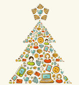 Social media networks Christmas tree — Stock Vector