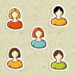 Royalty-Free Stock Imagem Vetorial: Diversity user profile icon set