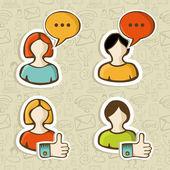 Social media user profile button icons set — Stock Vector