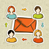 Fundo do conceito de campanha de marketing por e-mail — Vetorial Stock