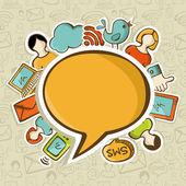 Concept de communication réseaux médias sociaux — Vecteur