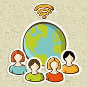 Internet diversity global connection — Stock Vector