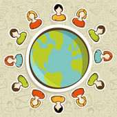 Social media teamwork world concept — Stock Vector
