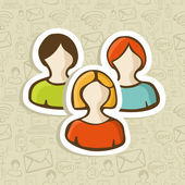 Social user group profile icons — Stock Vector
