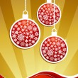 Golden christmas baubles background — Stock Vector