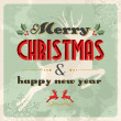 Royalty-Free Stock Vector Image: Merry christmas and happy new year vintage postcard