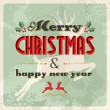 Merry christmas and happy new year vintage postcard — Stock Vector #14886045