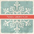 Stock Vector: Vintage Merry Christmas snowflake postcard