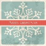 Vintage Merry Christmas snowflake postcard — Stock Vector