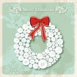 Vintage Merry Christmas wreath buttons postcard — Stock Vector