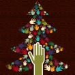 Diversity Christmas Tree hands — Stock Vector