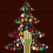 Diversity Christmas Tree hands — Stock Vector #14886549