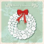 ビンテージ メリー クリスマスの花輪のボタンのはがき — ストックベクタ