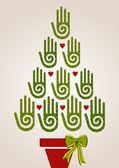Mångfald gröna händer i julgran — Stockvektor