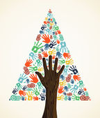 Diversity Christmas pine Tree hands — Stock Vector