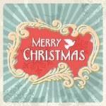Vintage Merry Christmas sign postcard — Stock Vector #14890225