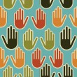 Stock Vector: Diversity hands seamless pattern