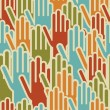 Diversity hands up seamless pattern — Stock Vector #15780359