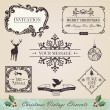 Vintage christmas elements set — Vector de stock