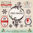 Vintage christmas elements set — Stockvectorbeeld