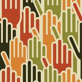 Multi-Ethnic hands seamless pattern — Stock Vector