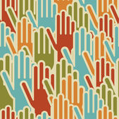 Diversity hands up seamless pattern — Stock Vector