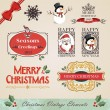 Stock Vector: Vintage christmas elements set