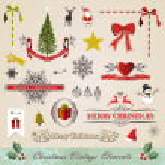 Vintage christmas elements set — Stock Vector #15794145