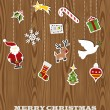 Retro wooden hanging Christmas set — Stock Vector #15794827