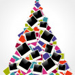 Christmas instant photo frame tree — Stock Vector