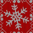 Christmas snowflake knitting pattern — Stock Vector