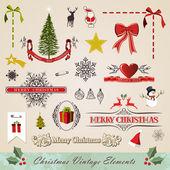 Vintage christmas elements set — Stock Vector