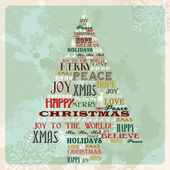 Vintage merry christmas concept tree — Stock Vector
