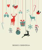 Happy hanging Christmas set — Stock Vector
