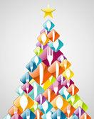 Silverware Christmas pine tree — Stock Vector