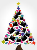 Christmas instant photo frame tree — Stock Vector