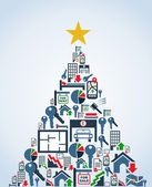 Real estate industry icons Christmas Tree — Stock Vector
