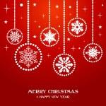 merry christmas sneeuwvlokken kerstballen — Stockvector