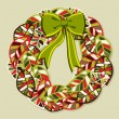 Royalty-Free Stock Vektorgrafik: Diversity leaves Christmas wreath