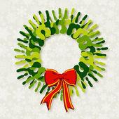 Rozmanitost zelené ruce vánoční věnec. — Stock vektor