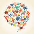 Global diversity hand prints speech bubble — Imagen vectorial