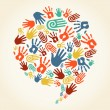 Global diversity hand prints speech bubble — Stock vektor